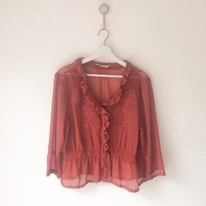 Soft Surroundings Sheer Embroidered Ruffle Blouse